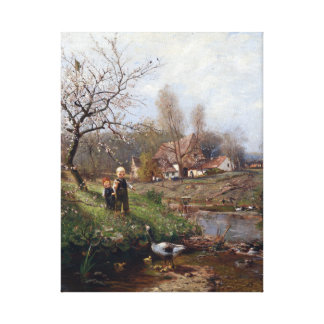 Adolf Lins Spring Landscape Two Children and Geese Canvas Print