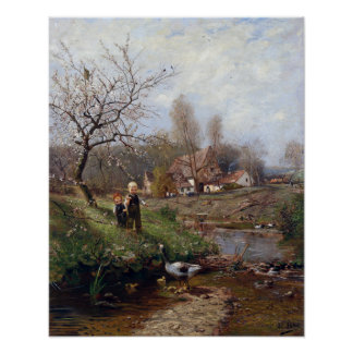 Adolf Lins Spring Landscape Two Children and Geese Poster