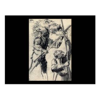 Adolph von Menzel Study Of A Male Three Views Postcard