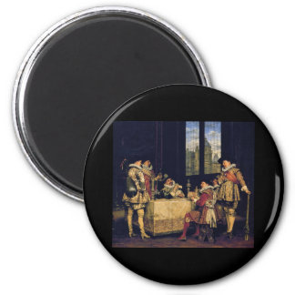 Adolphe Alexandre Lesrel The game of cards 2 Inch Round Magnet