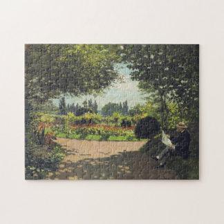 Adolphe Monet Reading in Garden Monet Fine Art Jigsaw Puzzle