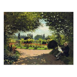 Adolphe Monet Reading in the Garden - Claude Monet Postcard