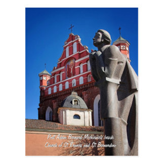 Adomas Mickevicius, Poet Statue, Vilnius Postcard