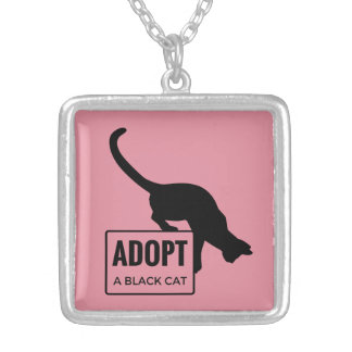 Adopt a Black Cat Silver Plated Necklace