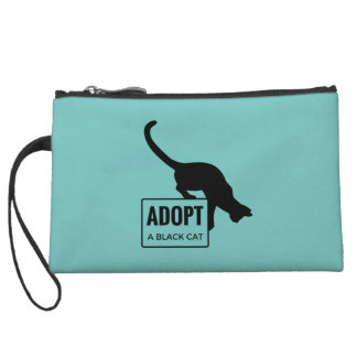 Adopt a Black Cat Wristlet Purses