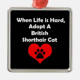 Adopt A British Shorthair Cat Silver-Colored Square Ornament