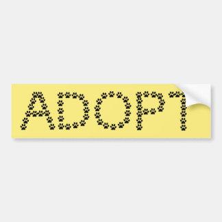 Adopt a Dog or Cat Custom Color Bumper Sticker