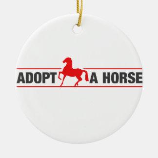 Adopt A Horse Round Ceramic Ornament