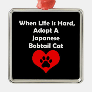 Adopt A Japanese Bobtail Cat Silver-Colored Square Ornament