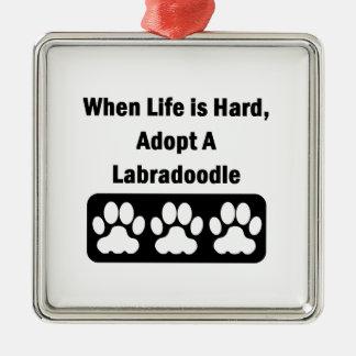 Adopt A Labradoodle Silver-Colored Square Ornament