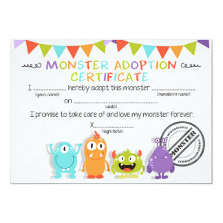 Adopt a Monster birthday Table sign Monster bash Card