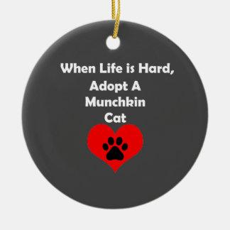 Adopt A Munchkin Cat Round Ceramic Ornament