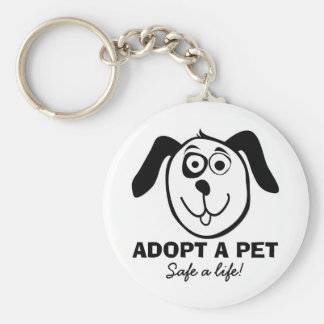 Adopt a pet keychain with cute dog cartoon