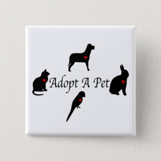 Adopt a Pet Silhouettes 2 Inch Square Button