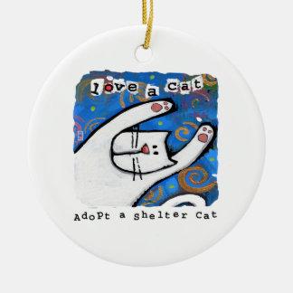 Adopt a shelter cat, Love a cat Round Ceramic Ornament