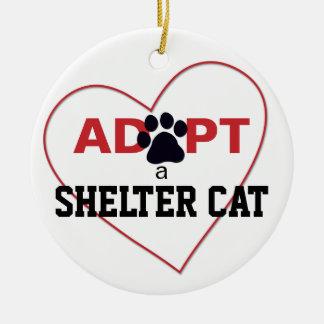 Adopt a Shelter Cat Round Ceramic Ornament