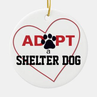 Adopt a Shelter Dog Round Ceramic Ornament