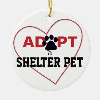 Adopt a Shelter Pet Round Ceramic Ornament
