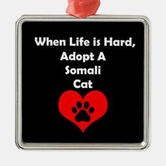 Adopt A Somali Cat Silver-Colored Square Ornament