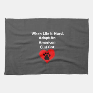 Adopt An American Curl Cat Hand Towels