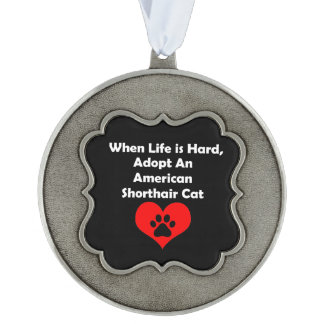 Adopt An American Shorthair Cat Scalloped Pewter Ornament
