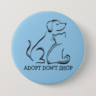 Adopt Don't Shop Dog Cat, LG 3 Inch Round Button