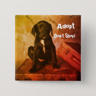 Adopt Don't Shop Puppy 2 Inch Square Button