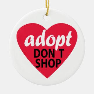Adopt Dont Shop Round Ceramic Ornament
