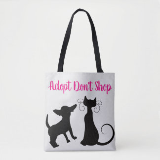 Adopt don't shop tote bag in all colors