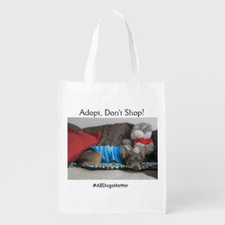 """""""Adopt, Don't Shop"""" tote bag Reusable Grocery Bags"""