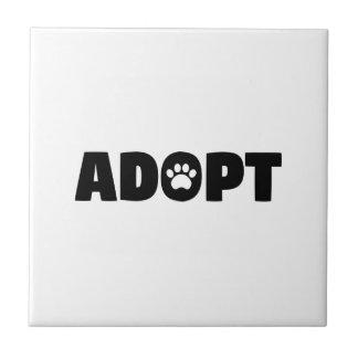 Adopt Paw Print Ceramic Tile
