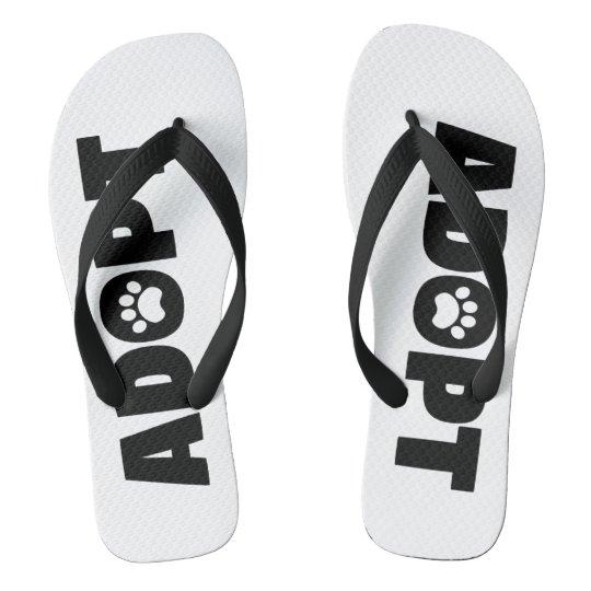 Adopt Paw Print Flip Flops