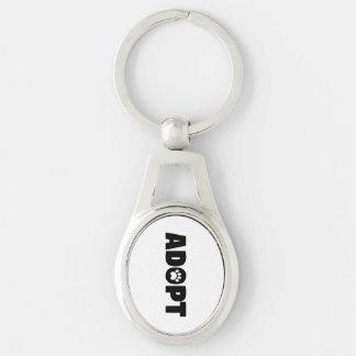 Adopt Paw Print Metal Keychain