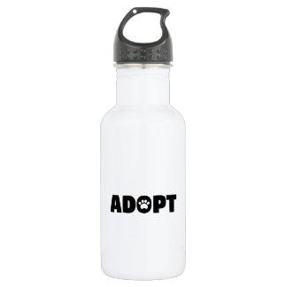 Adopt Paw Print Water Bottle