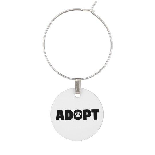 Adopt Rescue Dog Wine Charm