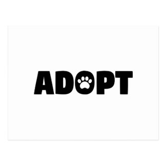 Adopt Rescue Paw Print Postcard