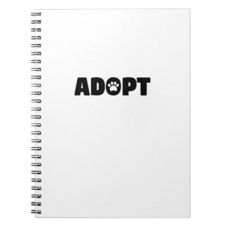 Adopt Rescue Paw Print Spiral Notebook