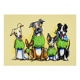 Adopt Shelter Dogs Green Tees Think Adoption Poster
