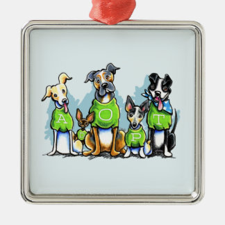 Adopt Shelter Dogs Green Tees Think Adoption Silver-Colored Square Ornament