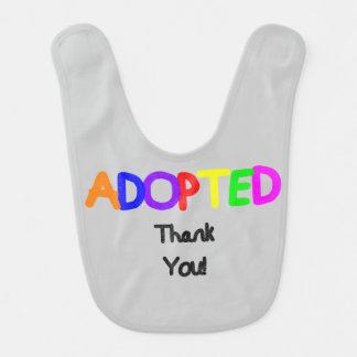Adopted Black Thank You Bibs