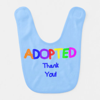 adopted Blue Thank You Baby Bibs