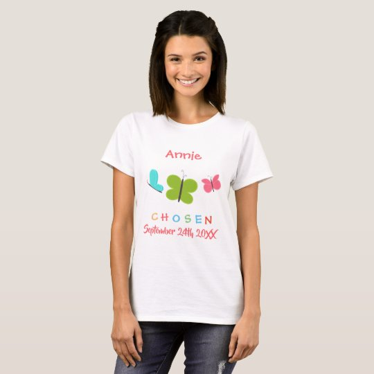 Adopted Butterfly Chosen Adoption - Custom Name T-Shirt