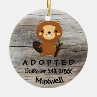 Adopted - Customized Beaver Adoption Gift Ceramic Ornament