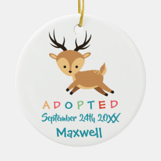 Adopted - Customized Deer Adoption Gift Ceramic Ornament