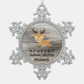 Adopted - Customized Deer Adoption Gift Snowflake Pewter Christmas Ornament