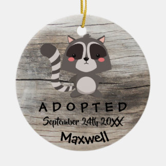 Adopted - Customized Raccoon Adoption Gift Ceramic Ornament