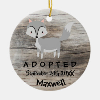 Adopted - Customized Wolf Adoption Gift Ceramic Ornament