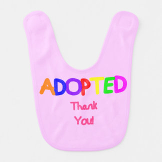 Adopted Pink Thank You Bibs