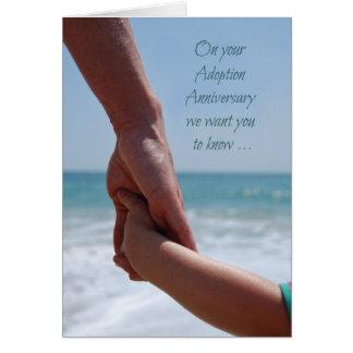 Adoption Anniversary Holding Hands at Beach, Ocean Card
