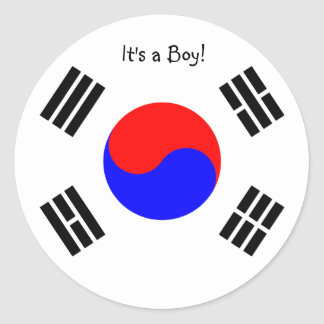 Adoption Announcement Stickers- South Korea, boy Classic Round Sticker